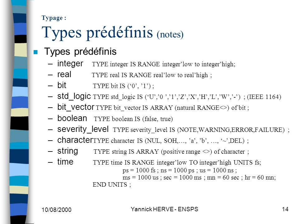 Typage : Types prédéfinis (notes)