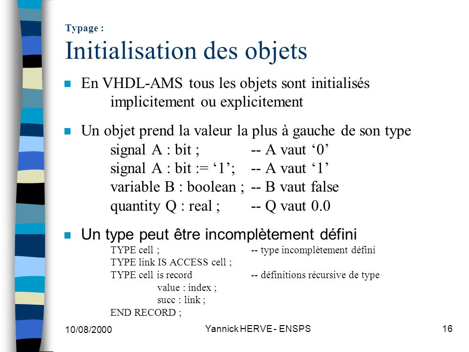 Typage : Initialisation des objets