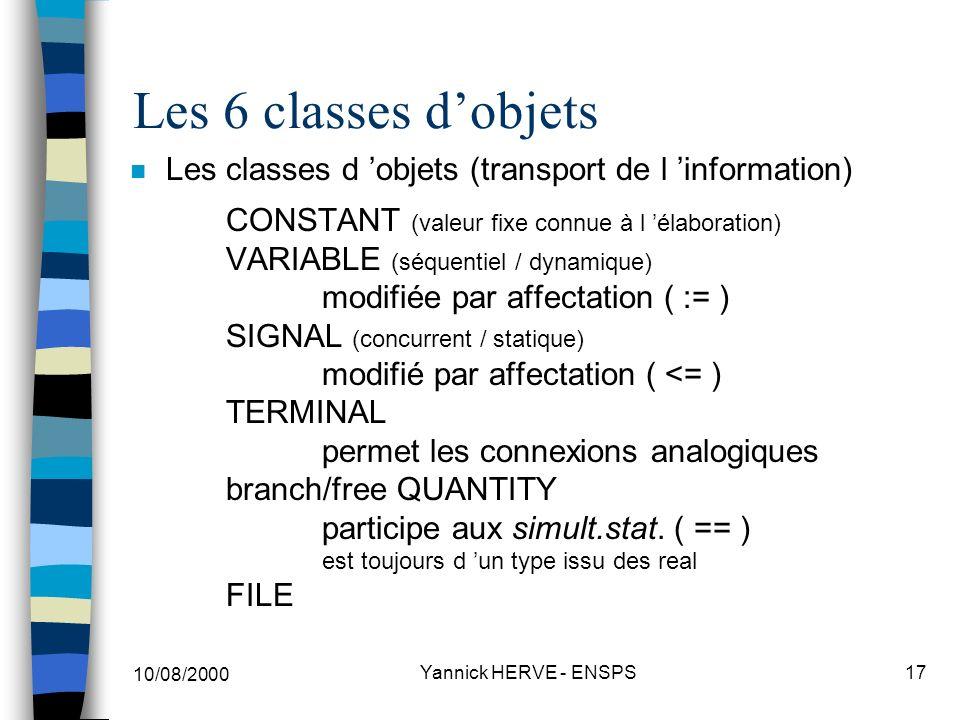 Les 6 classes d'objets