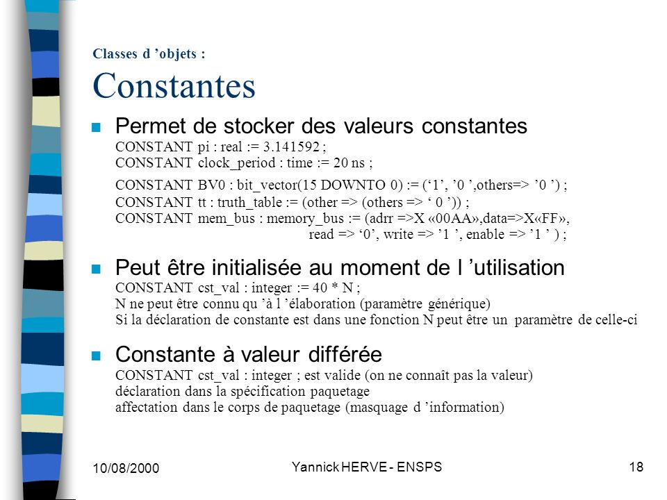 Classes d 'objets : Constantes