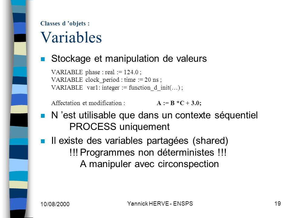 Classes d 'objets : Variables