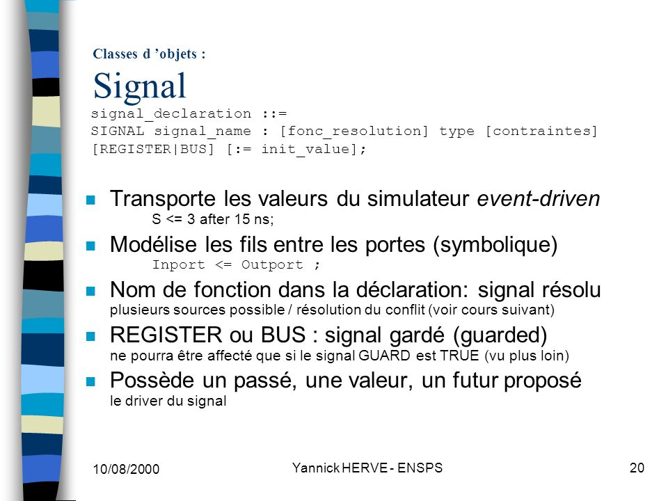 Classes d 'objets : Signal