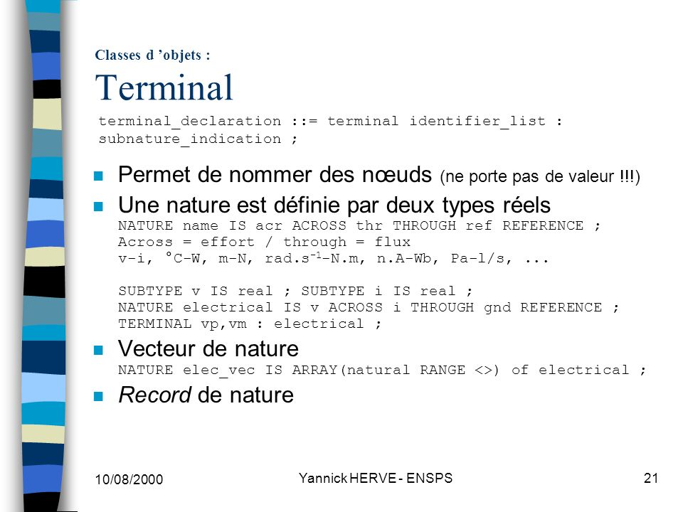 Classes d 'objets : Terminal