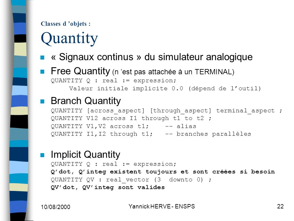 Classes d 'objets : Quantity
