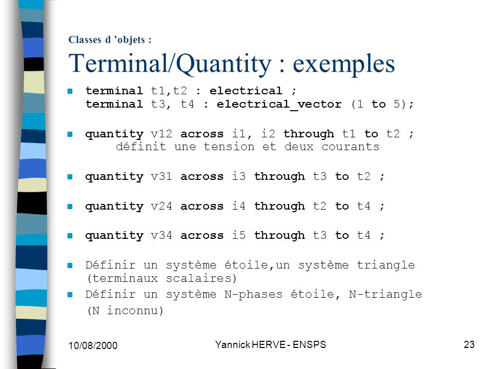 Classes d 'objets : Terminal/Quantity : exemples