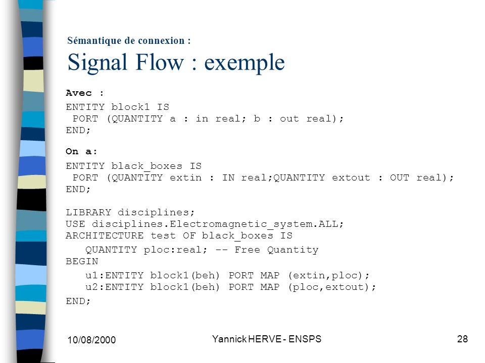 Sémantique de connexion : Signal Flow : exemple