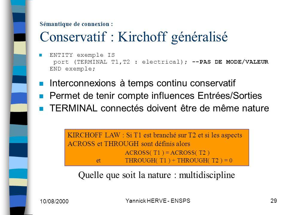 Sémantique de connexion : Conservatif : Kirchoff généralisé
