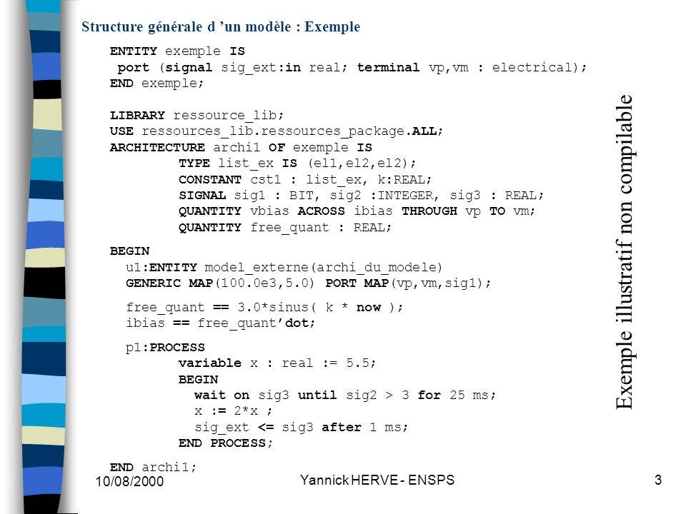Structure générale d 'un modèle : Exemple