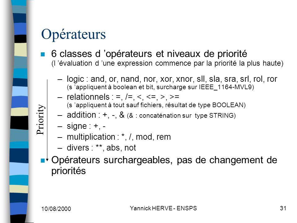 Opérateurs 6 classes d 'opérateurs et niveaux de priorité (l 'évaluation d 'une expression commence par la priorité la plus haute)