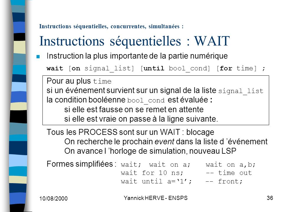 Instructions séquentielles, concurrentes, simultanées : Instructions séquentielles : WAIT