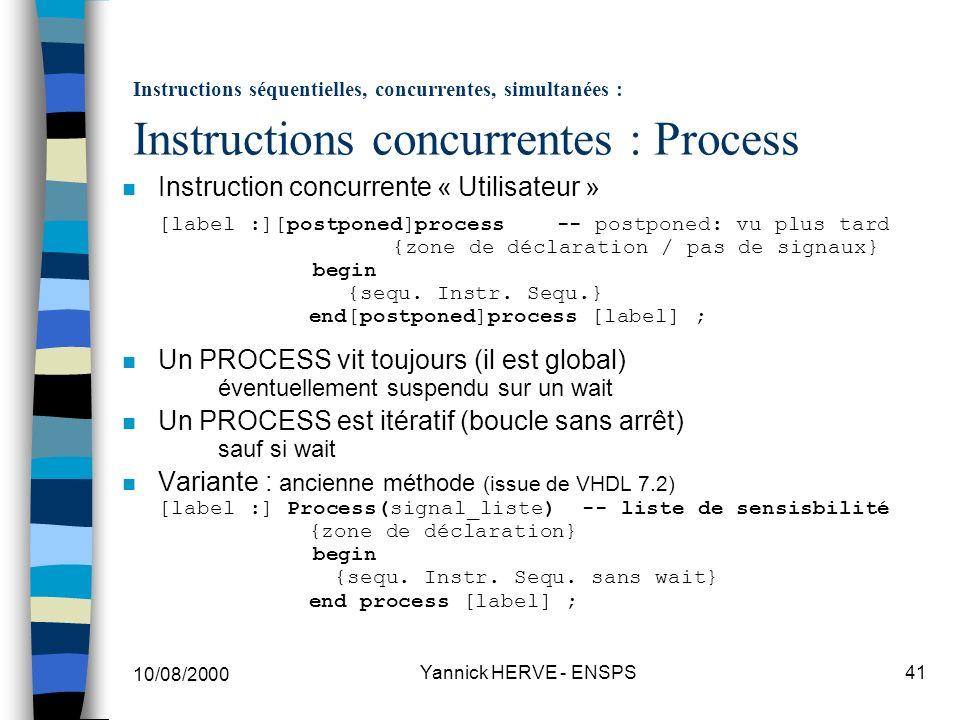 Un PROCESS est itératif (boucle sans arrêt) sauf si wait