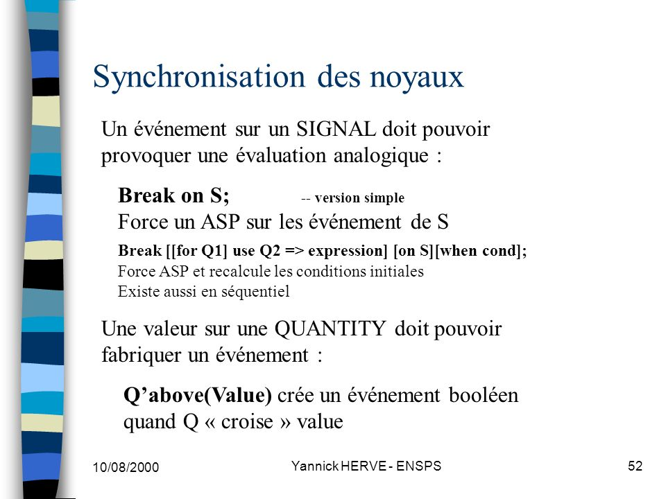 Synchronisation des noyaux