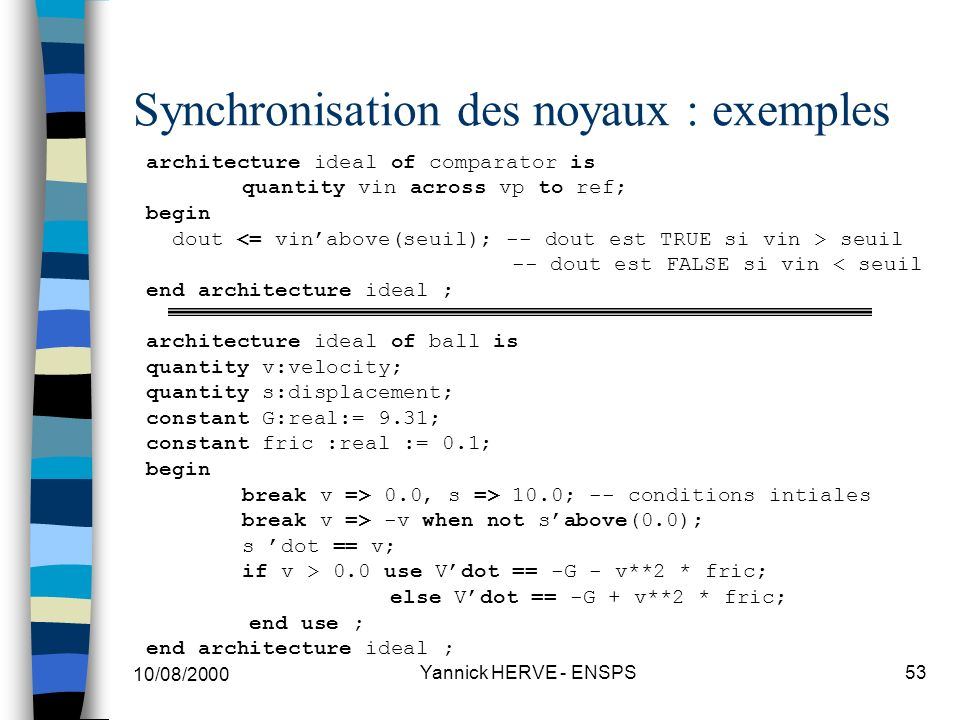 Synchronisation des noyaux : exemples