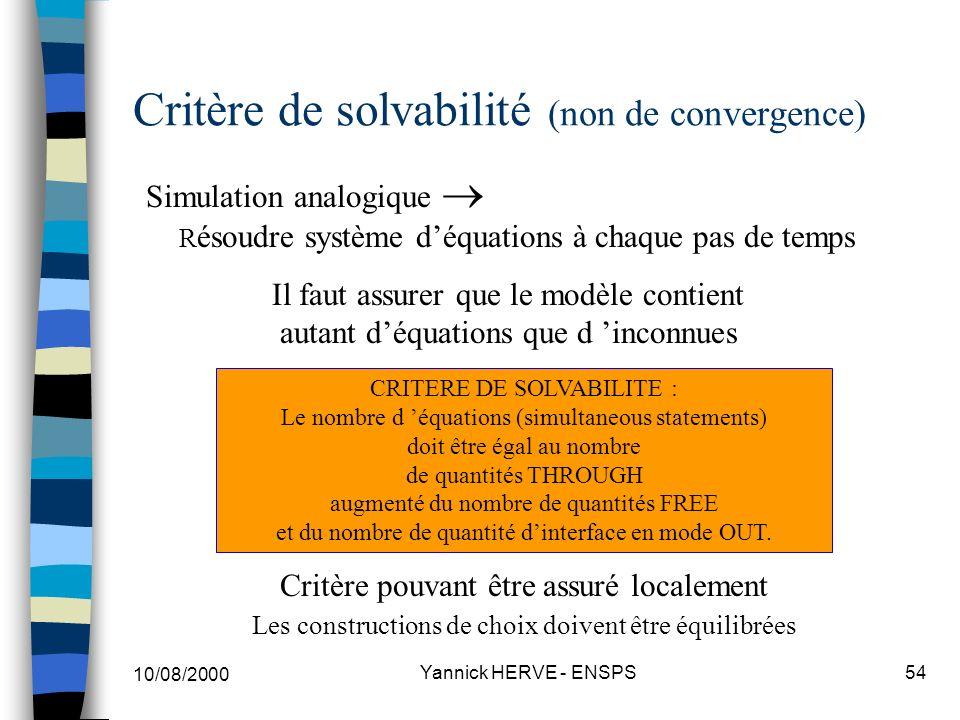 Critère de solvabilité (non de convergence)