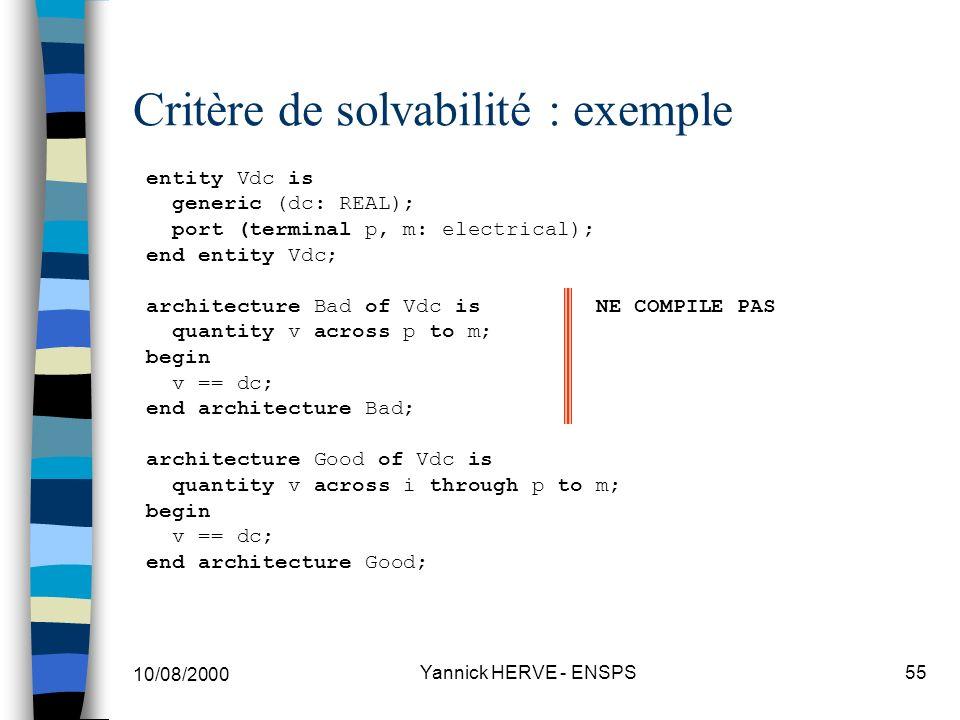 Critère de solvabilité : exemple