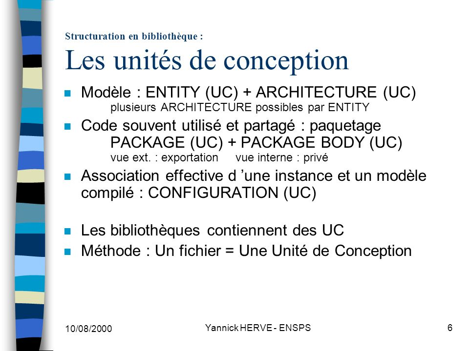 Structuration en bibliothèque : Les unités de conception