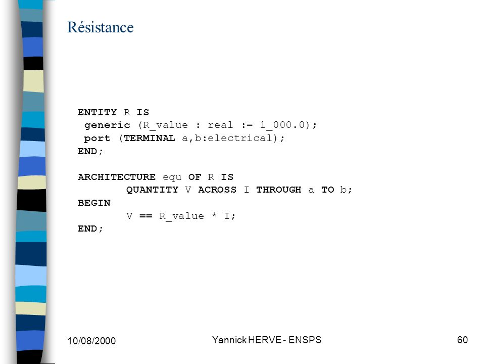 Résistance ENTITY R IS generic (R_value : real := 1_000.0); port (TERMINAL a,b:electrical); END;