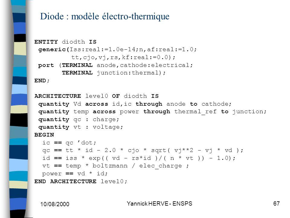 Diode : modèle électro-thermique