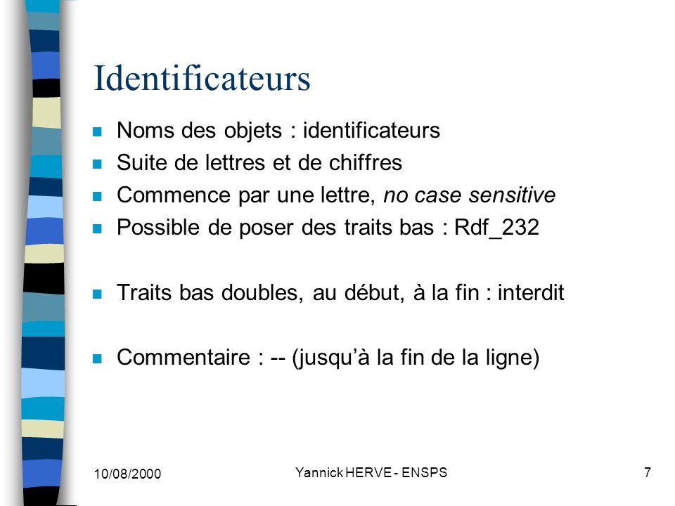 Identificateurs Noms des objets : identificateurs