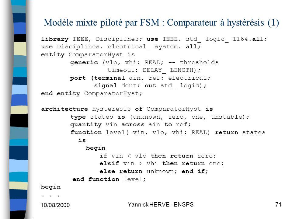 Modèle mixte piloté par FSM : Comparateur à hystérésis (1)