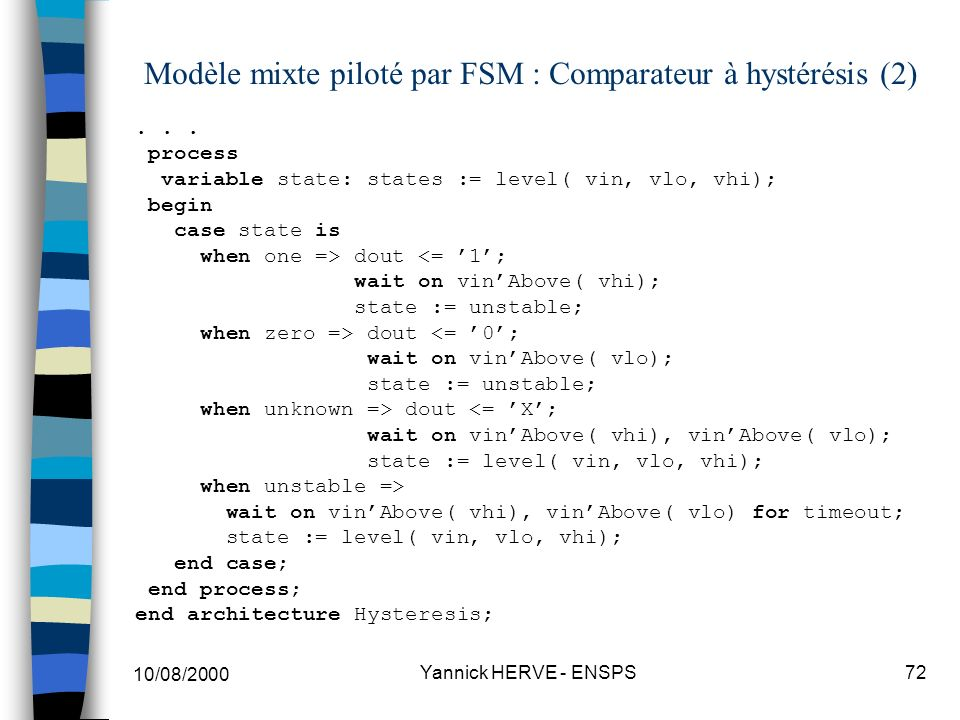Modèle mixte piloté par FSM : Comparateur à hystérésis (2)