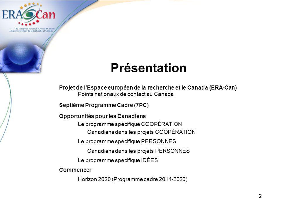 Présentation Projet de l'Espace européen de la recherche et le Canada (ERA-Can) Points nationaux de contact au Canada.