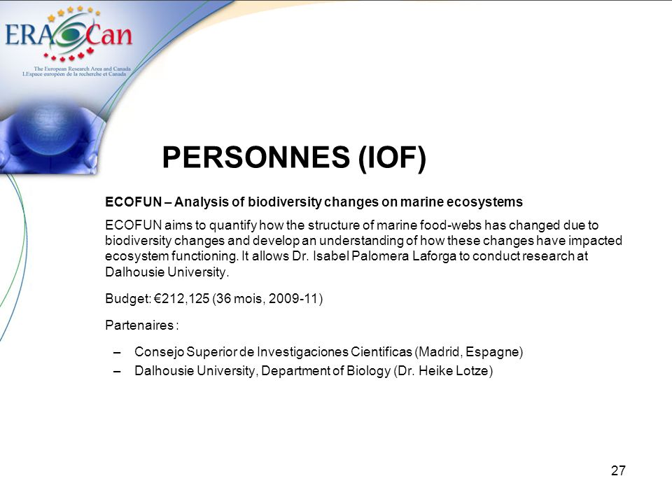 PERSONNES (IOF) ECOFUN – Analysis of biodiversity changes on marine ecosystems.