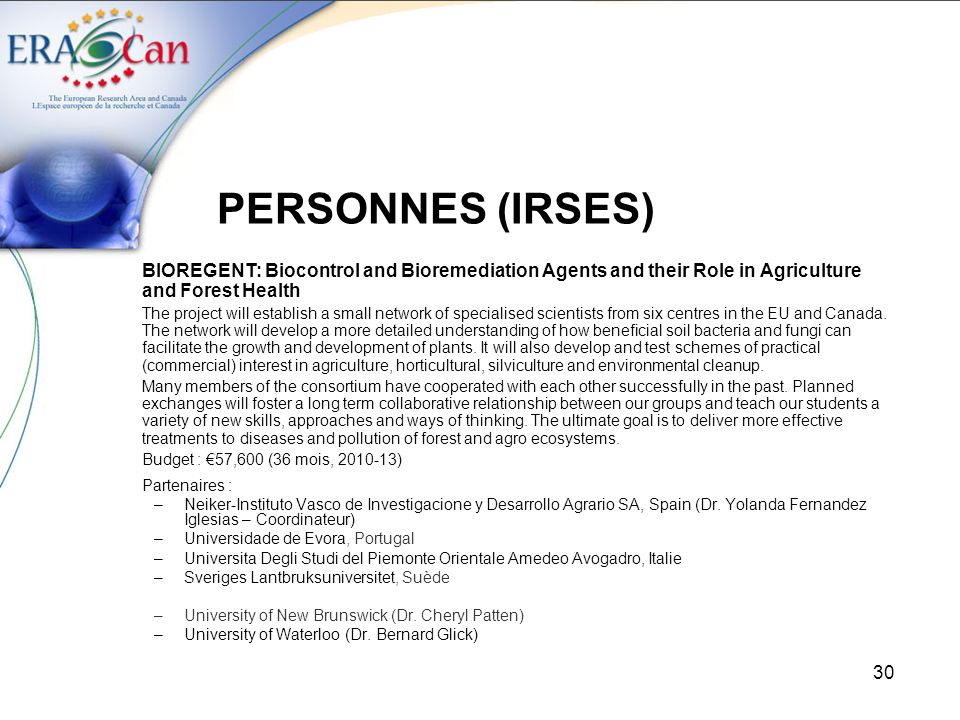 PERSONNES (IRSES) BIOREGENT: Biocontrol and Bioremediation Agents and their Role in Agriculture and Forest Health.