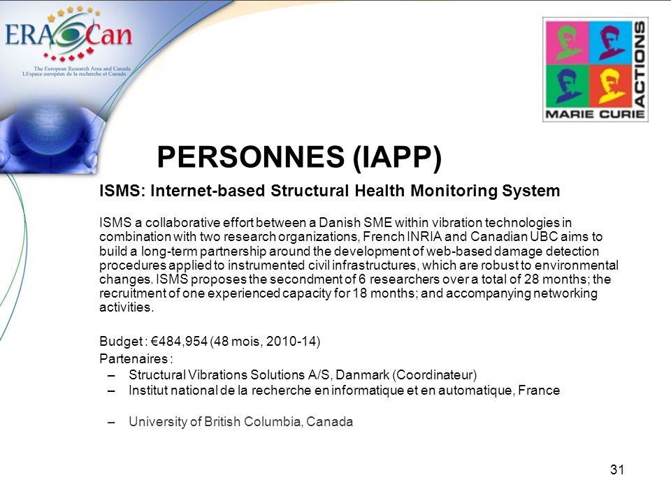 PERSONNES (IAPP) ISMS: Internet-based Structural Health Monitoring System.