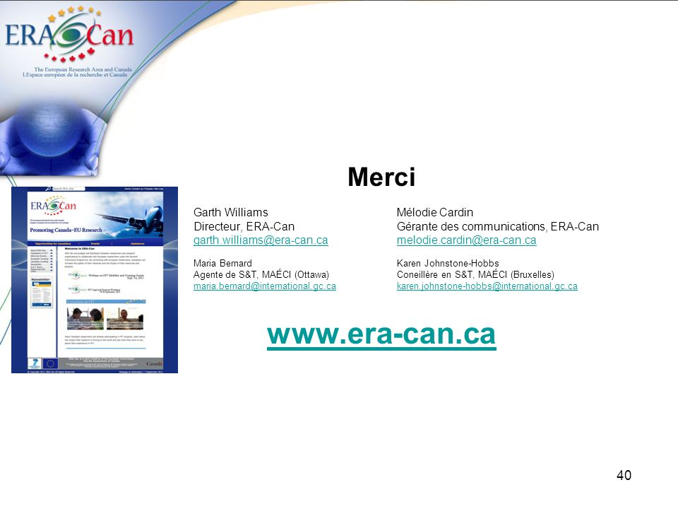 www.era-can.ca Merci Garth Williams Mélodie Cardin