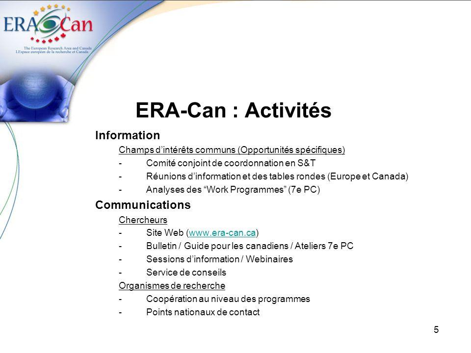 ERA-Can : Activités Information Communications