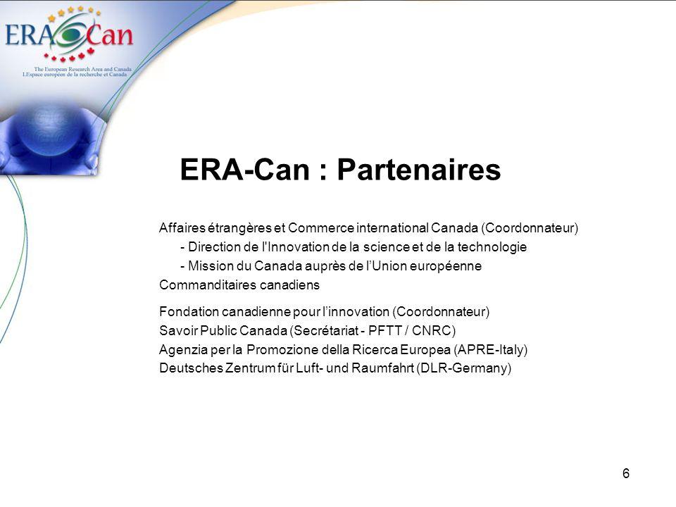 ERA-Can : Partenaires Affaires étrangères et Commerce international Canada (Coordonnateur)
