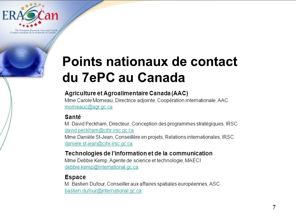 Points nationaux de contact du 7ePC au Canada