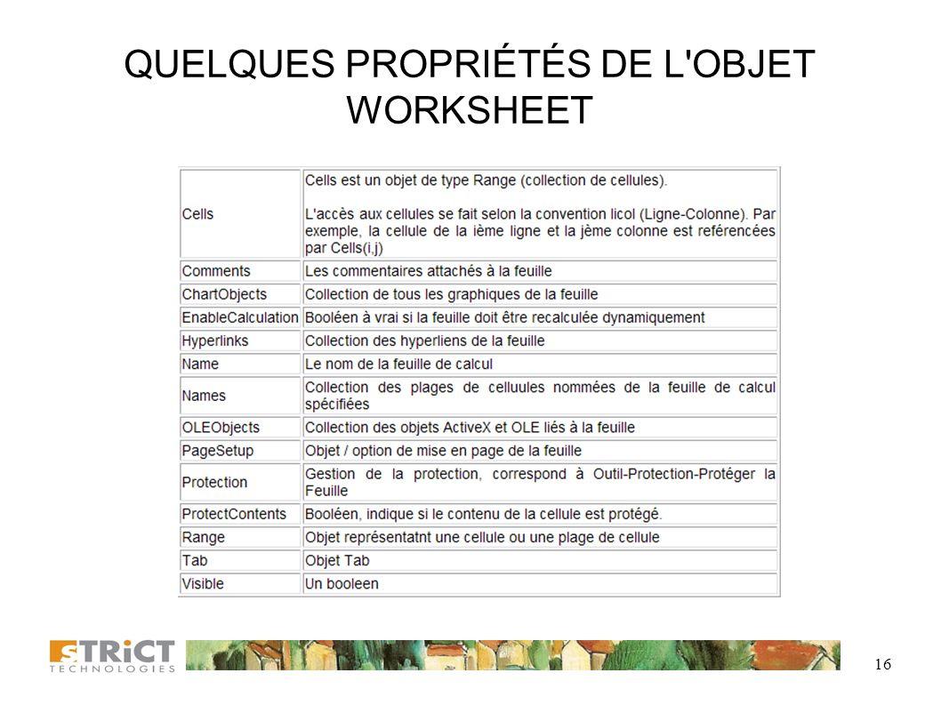 QUELQUES PROPRIÉTÉS DE L OBJET WORKSHEET