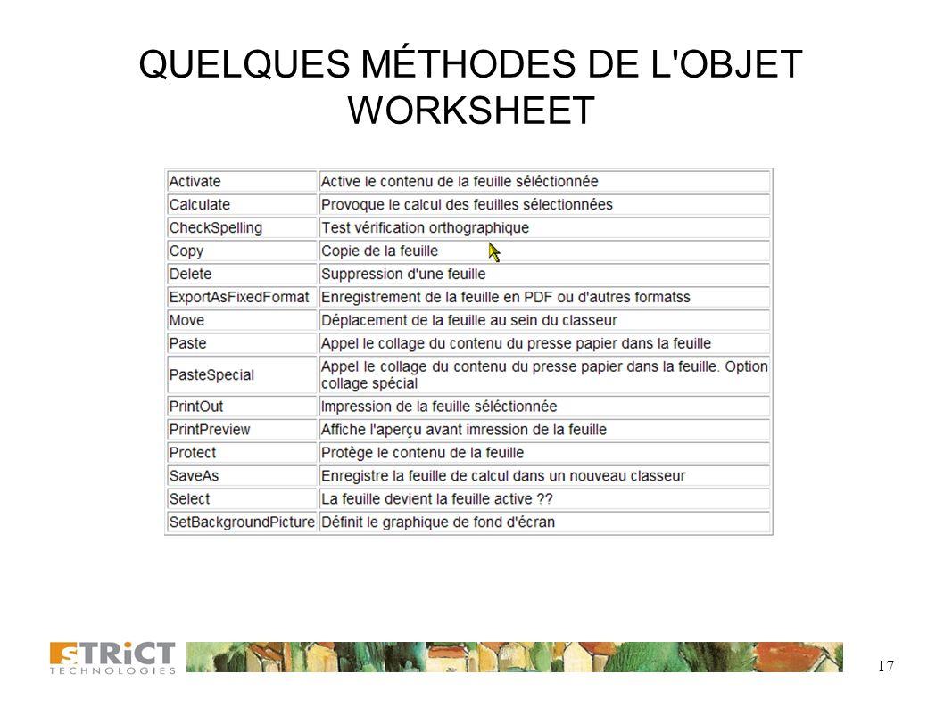 QUELQUES MÉTHODES DE L OBJET WORKSHEET