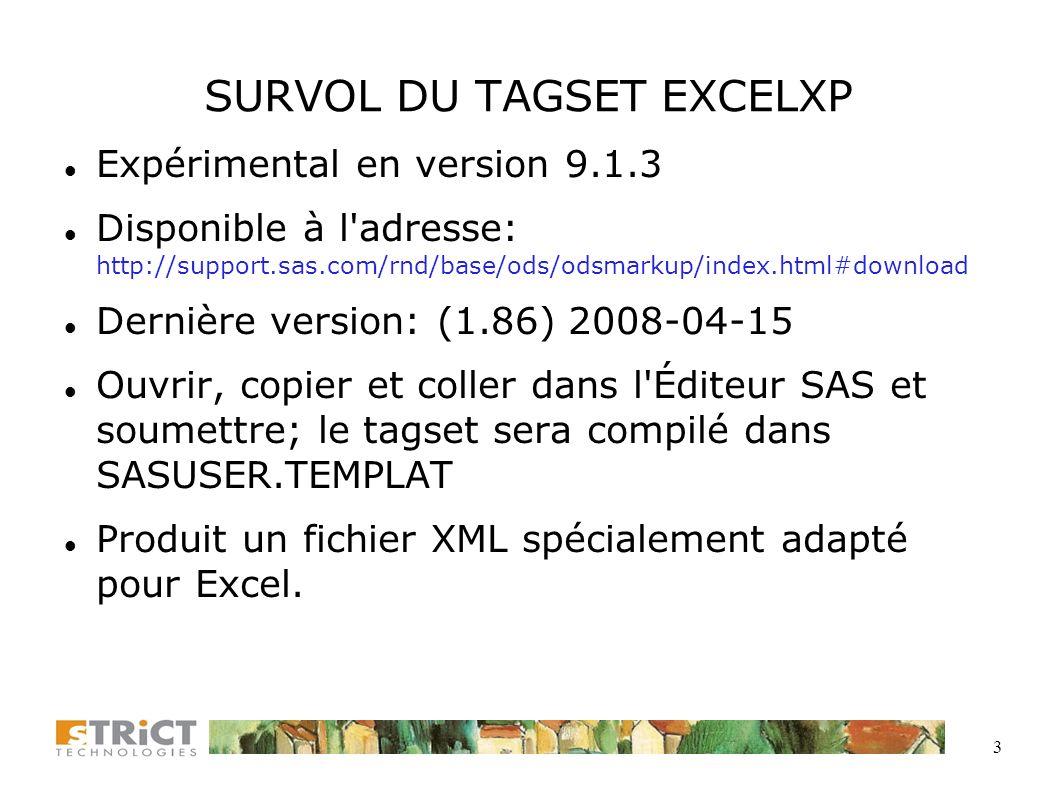 SURVOL DU TAGSET EXCELXP