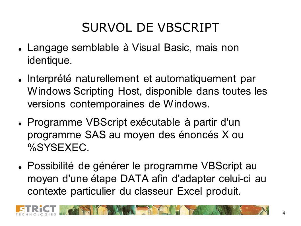 SURVOL DE VBSCRIPT Langage semblable à Visual Basic, mais non identique.