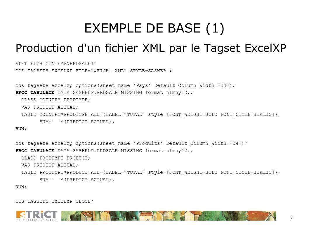 EXEMPLE DE BASE (1) Production d un fichier XML par le Tagset ExcelXP