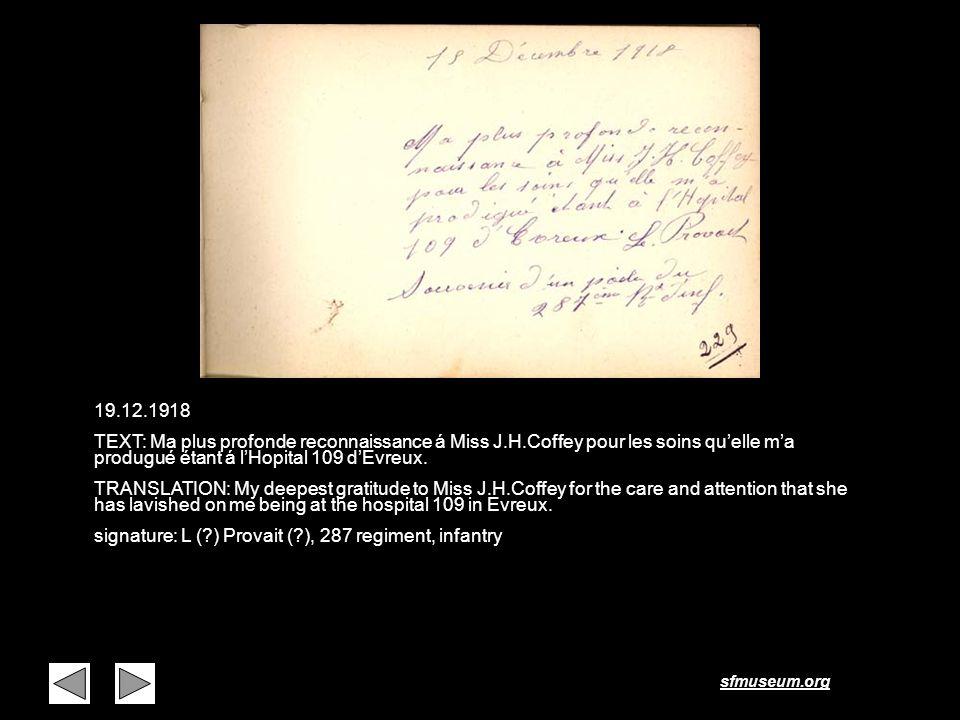 Page 15 19.12.1918. TEXT: Ma plus profonde reconnaissance á Miss J.H.Coffey pour les soins qu'elle m'a produgué étant á l'Hopital 109 d'Evreux.