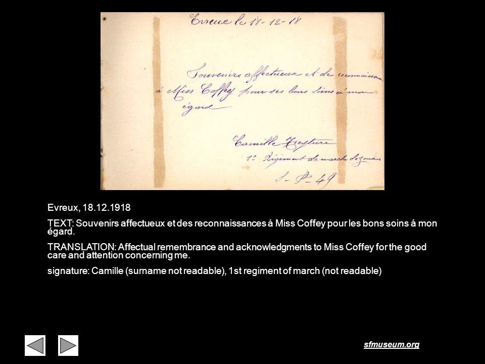 Page 29 Evreux, 18.12.1918. TEXT: Souvenirs affectueux et des reconnaissances á Miss Coffey pour les bons soins á mon égard.