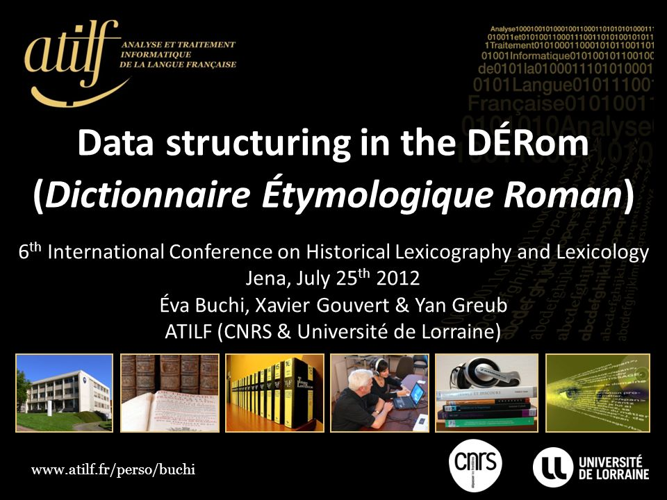 Data structuring in the DÉRom (Dictionnaire Étymologique Roman)