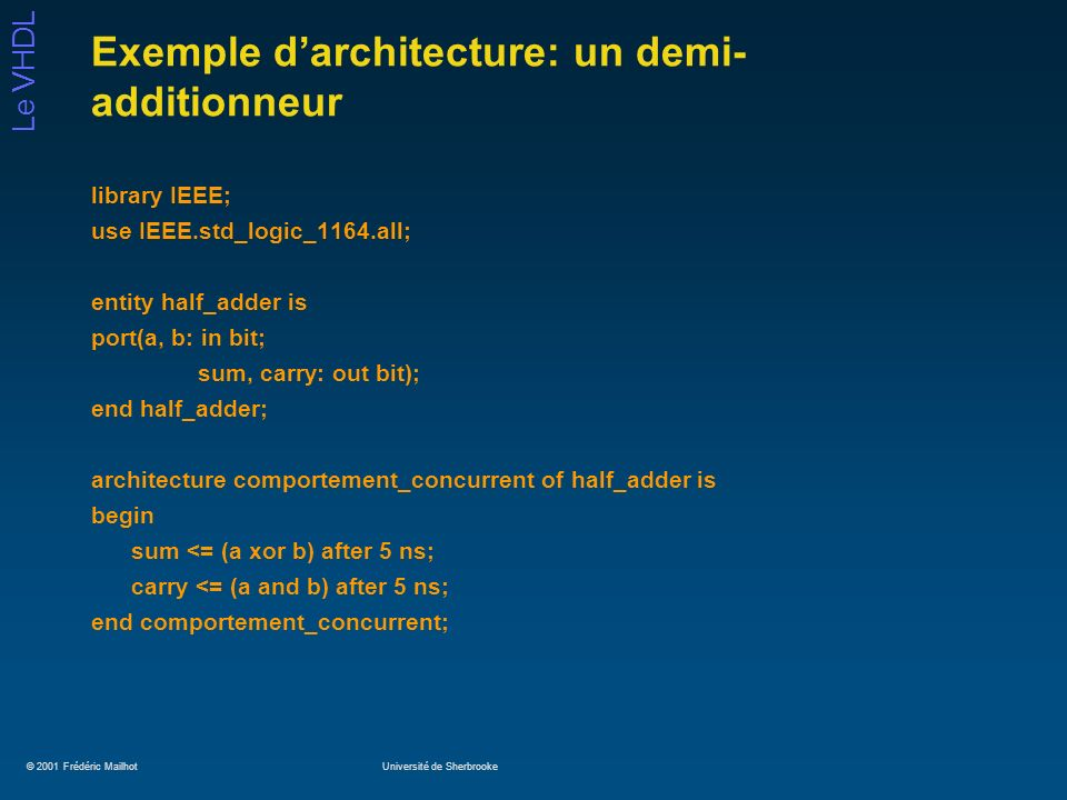 Exemple d'architecture: un demi-additionneur