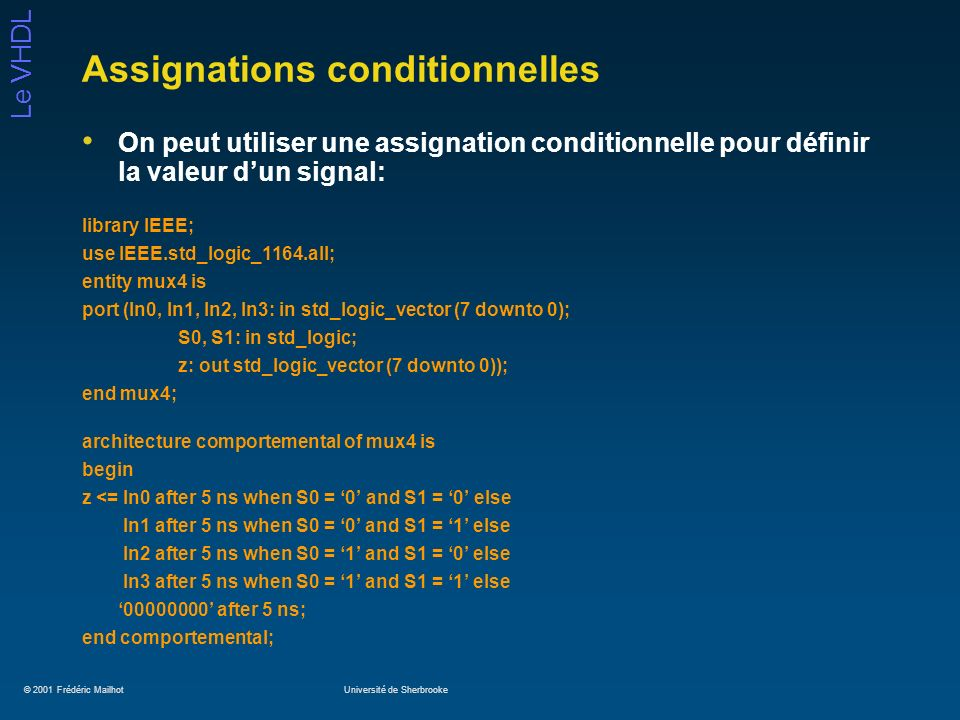 Assignations conditionnelles