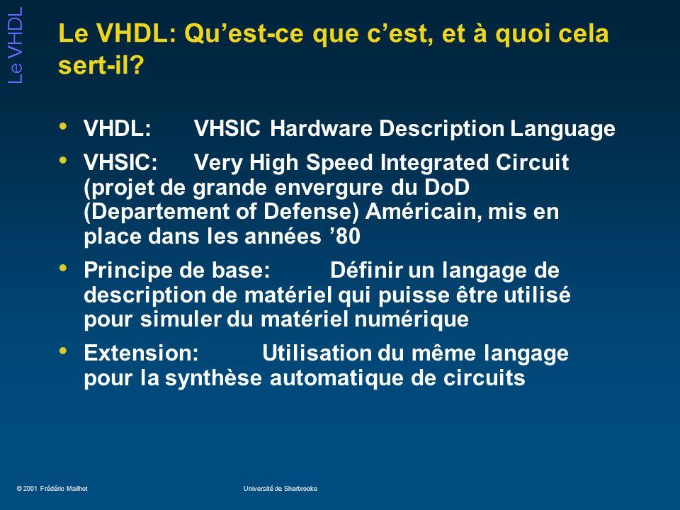 Le VHDL: Qu'est-ce que c'est, et à quoi cela sert-il