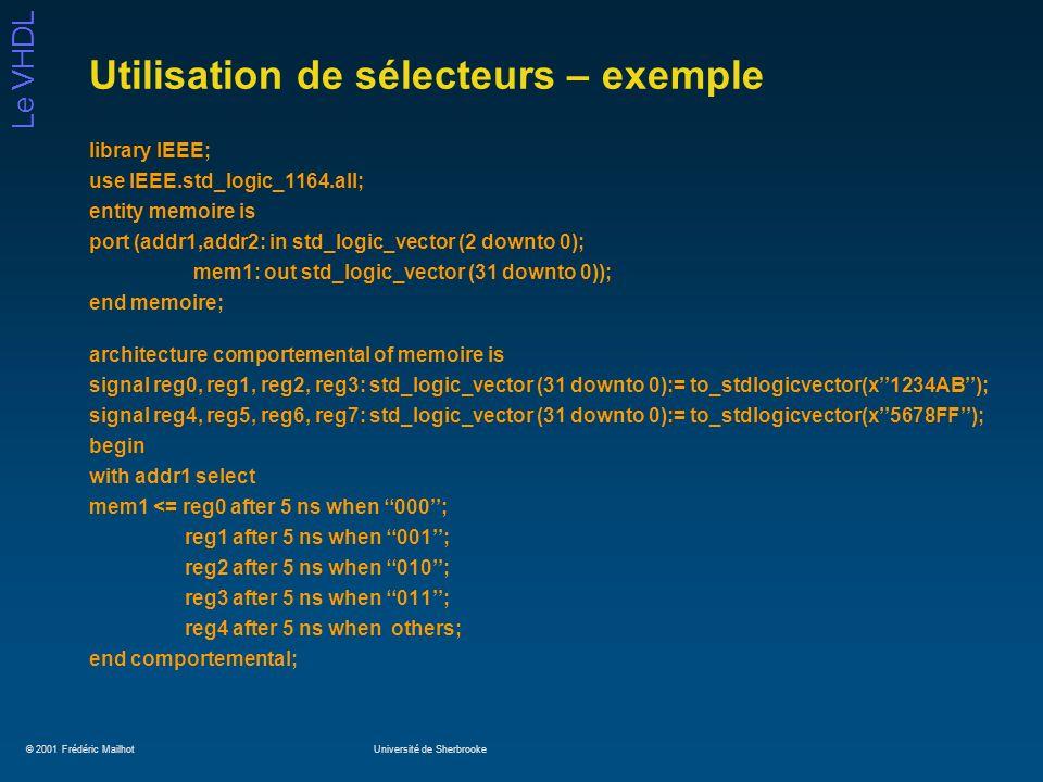 Utilisation de sélecteurs – exemple