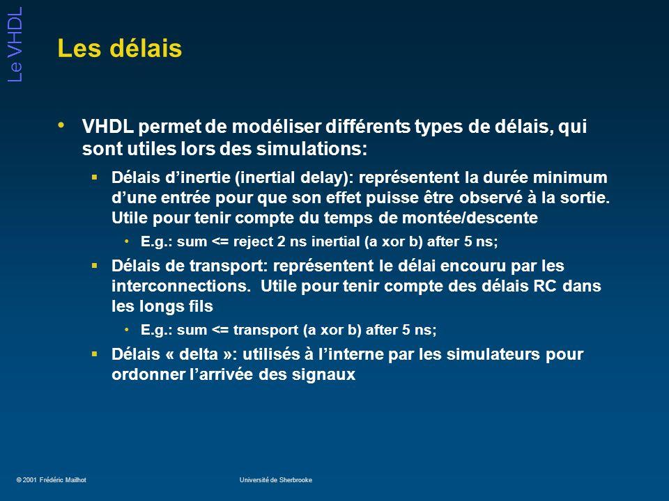 Les délais VHDL permet de modéliser différents types de délais, qui sont utiles lors des simulations:
