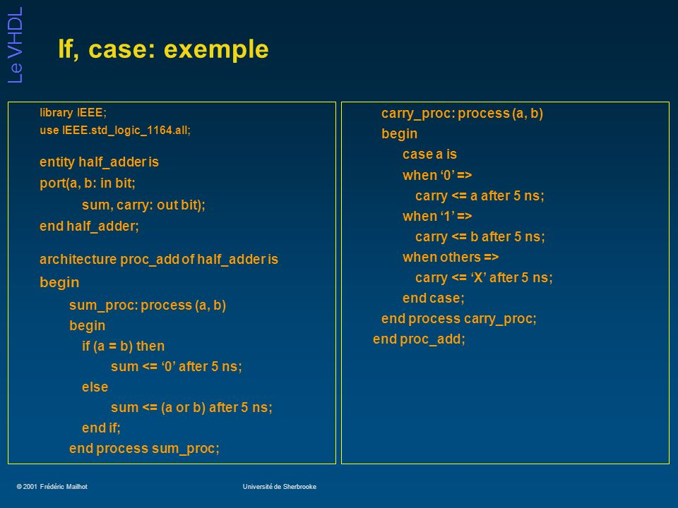 If, case: exemple begin carry_proc: process (a, b) begin case a is