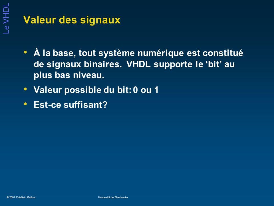 Valeur des signaux À la base, tout système numérique est constitué de signaux binaires. VHDL supporte le 'bit' au plus bas niveau.