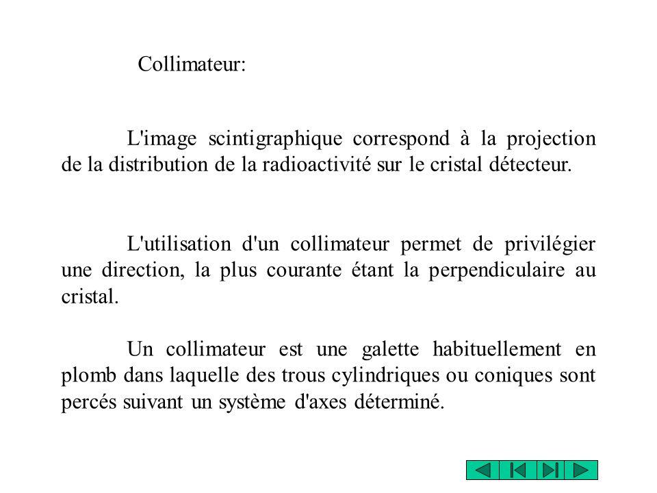 Collimateur: L image scintigraphique correspond à la projection de la distribution de la radioactivité sur le cristal détecteur.