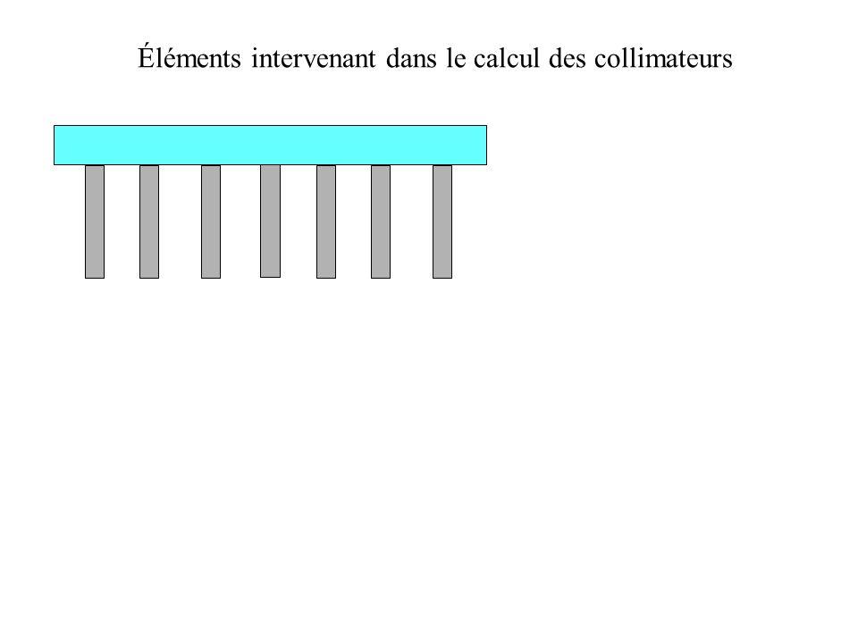 Éléments intervenant dans le calcul des collimateurs